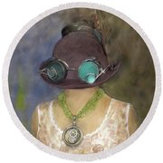 Steampunk Beauty With Hat And Goggles - Square Round Beach Towel