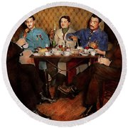 Round Beach Towel featuring the photograph Steampunk - Bionic Three Having Tea 1917 by Mike Savad