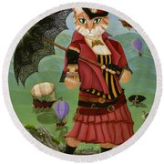 Steampunk Cat Gal - Victorian Cat Round Beach Towel