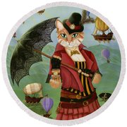 Round Beach Towel featuring the painting Steampunk Cat Gal - Victorian Cat by Carrie Hawks