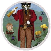 Steampunk Cat Guy - Victorian Cat Round Beach Towel