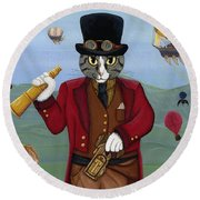 Round Beach Towel featuring the painting Steampunk Cat Guy - Victorian Cat by Carrie Hawks