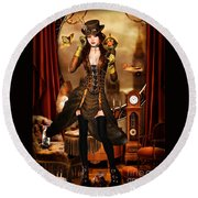 Steampunk Girl Round Beach Towel