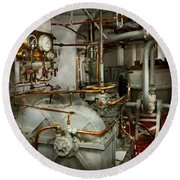 Round Beach Towel featuring the photograph Steampunk - In The Engine Room by Mike Savad