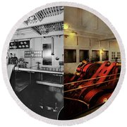 Round Beach Towel featuring the photograph Steampunk - Man The Controls 1908 - Side By Side by Mike Savad