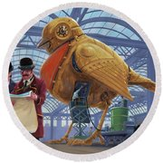 Steampunk Mechanical Robin Factory Round Beach Towel