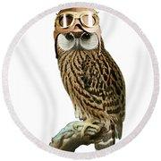 Steampunk Owl Round Beach Towel