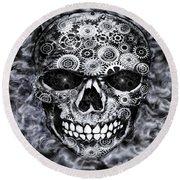 Steampunk Skull Round Beach Towel