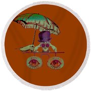 Steampunk T Shirt Design Round Beach Towel