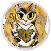 Steampunk Valentine Cat Round Beach Towel