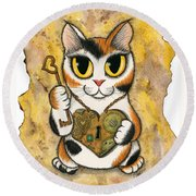 Steampunk Valentine Cat Round Beach Towel