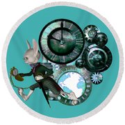 Steampunk White Rabbit Round Beach Towel
