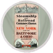 Steamship And Railroad Connections At New York Round Beach Towel