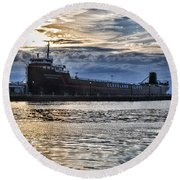 Round Beach Towel featuring the photograph Steamship William G. Mather - 1 by Mark Madere