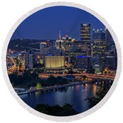 Steel City Glow Round Beach Towel