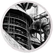 Steel Mill In Black And White - Bethlehem Round Beach Towel by Bill Cannon