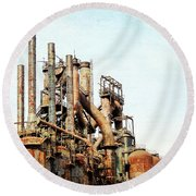 Steel Stack Blast Furnaces Round Beach Towel