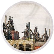 Steel Stacks  Round Beach Towel