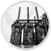 Steel Stacks - The Bethehem Steel Mill In Black And White Round Beach Towel by Bill Cannon
