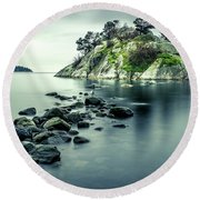 Steely Day At Whytecliff Round Beach Towel