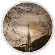 Steeple Of Time Round Beach Towel