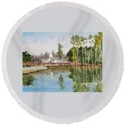 Round Beach Towel featuring the painting Steeple Reflection by Jim Phillips