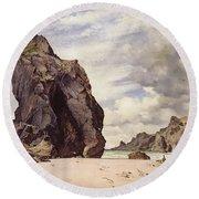 Steeple Rock, Kynance Cove, Lizard, Cornwall, Low Water, 1873 Round Beach Towel
