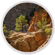 Steeply Up The Canyon Round Beach Towel