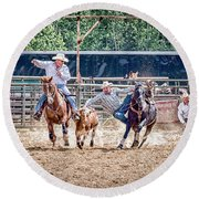 Round Beach Towel featuring the photograph Steer Wrestling With An Audience by Darcy Michaelchuk