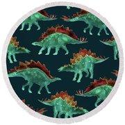 Stegosaurus Round Beach Towel by Varpu Kronholm