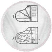 Steinway Grand Piano Patent Round Beach Towel by Taylan Apukovska