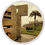 Round Beach Towel featuring the photograph Stelae In The Park - Miraflores Peru by Mary Machare
