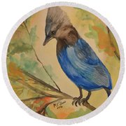 Round Beach Towel featuring the painting Stellar Jay - Autumn #3 by Maria Urso