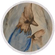 Round Beach Towel featuring the painting Stellar Jay - Winter #4 by Maria Urso