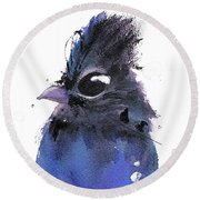 Round Beach Towel featuring the painting Steller Jay by Dawn Derman
