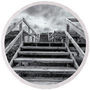 Round Beach Towel featuring the photograph Step On Up by Linda Lees