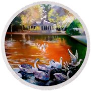 Stephens Green Dublin Ireland Round Beach Towel