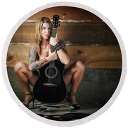 Stephanie W/guitar Round Beach Towel