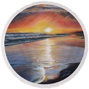 Round Beach Towel featuring the painting Stephanie's Sunset by Donna Tuten