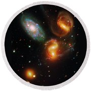 Stephan's Quintet Round Beach Towel by Paul W Faust - Impressions of Light