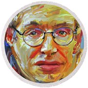Stephen Hawking Tribute Portrait 4 Round Beach Towel