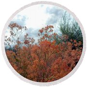 Round Beach Towel featuring the painting  Steppe Forest  by Lisa Kaiser