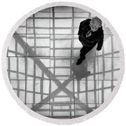 Round Beach Towel featuring the photograph Stepping Into The Web by John Williams