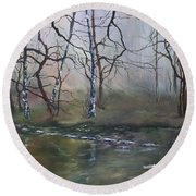 Stepping Stones On Cannock Chase Round Beach Towel by Jean Walker