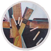 Round Beach Towel featuring the painting Stepping Up by Nancy Jolley