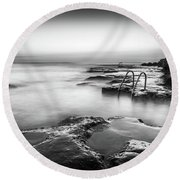 Steps Into The Sea Bw Round Beach Towel