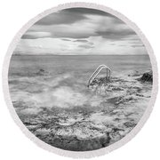 Round Beach Towel featuring the photograph Steps Into The Water by Gary Gillette