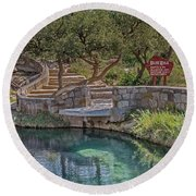 Round Beach Towel featuring the photograph Steps Leading To The Blue Hole by Sue Smith