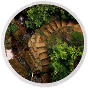 Steps Leading Up The Stairway To Heaven Round Beach Towel
