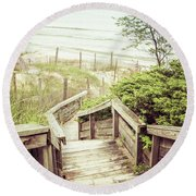 Round Beach Towel featuring the photograph Steps To Lake Michigan by Joel Witmeyer